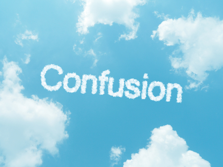 befuddled: cloud words with design on blue sky background