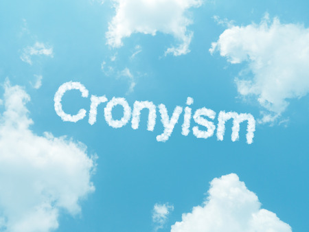 nepotism: cloud words with design on blue sky background