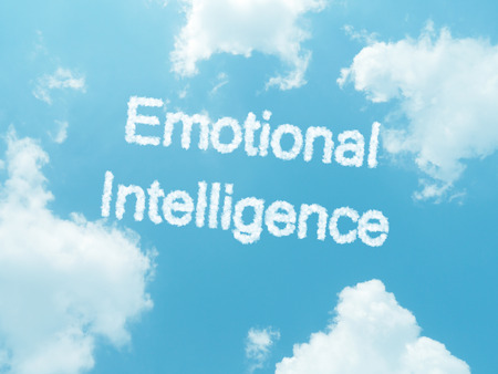 emotionality: cloud words with design on blue sky background