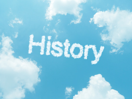 history cloud word with design on blue sky background