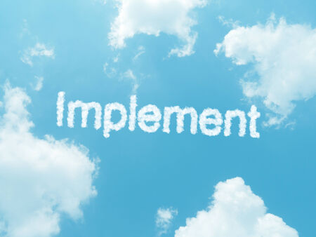 implemented: implement cloud word with design on blue sky background