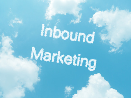 inbound marketing cloud words with design on blue sky background photo