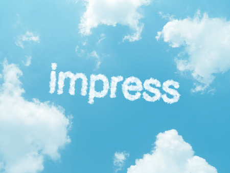 impress: impress cloud word with design on blue sky background