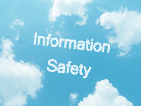information safety cloud words with design on blue sky background photo