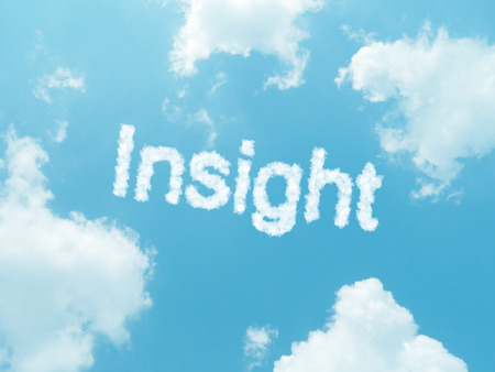 insight cloud word with design on blue sky background photo