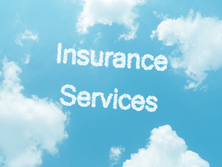 insurance services cloud words with design on blue sky background photo