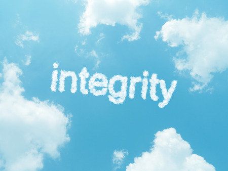 elearn: integrity cloud words with design on blue sky background