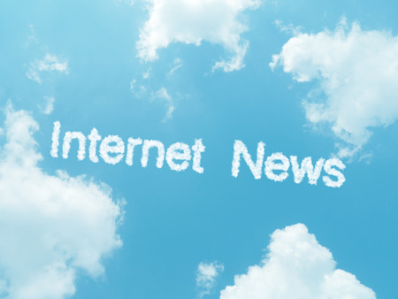 internet news cloud words with design on blue sky background photo