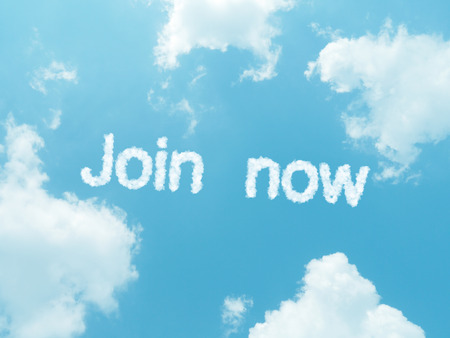 Join now cloud words with design on blue sky background photo