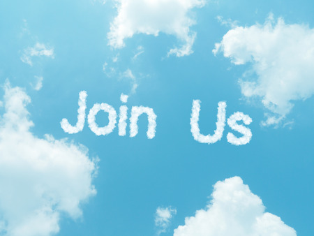 Join us cloud words with design on blue sky background Stock Photo