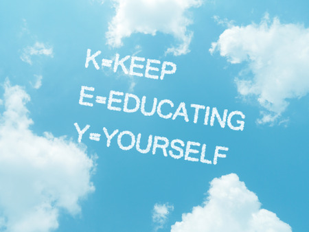 K.E.Y cloud words with design on blue sky background