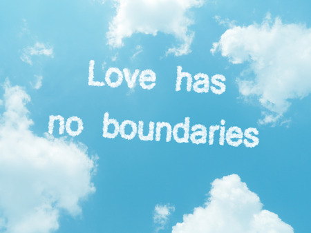 no boundaries: Love has no boundaries cloud words with design on blue sky background