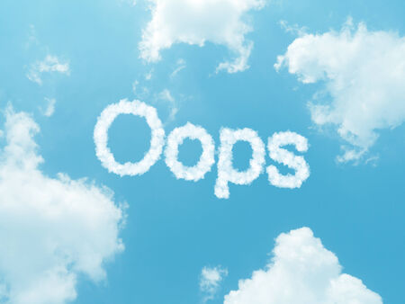 blunder: cloud words with design on blue sky background