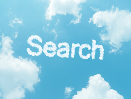 searchengine: cloud words with design on blue sky background