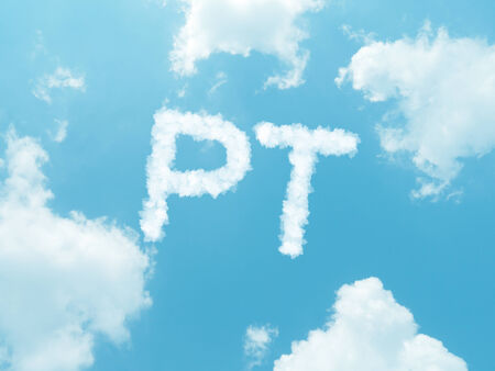 isotope: cloud words with design on blue sky background