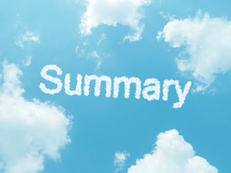 recap: cloud words with design on blue sky background