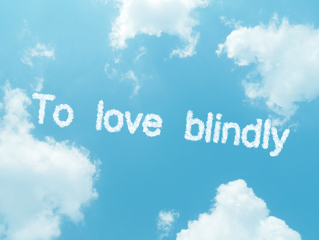 blindly: cloud words with design on blue sky background
