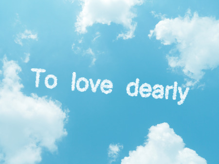 dearly: cloud words with design on blue sky background