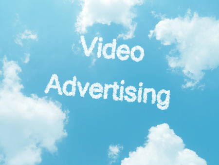 infomercial: cloud words with design on blue sky background