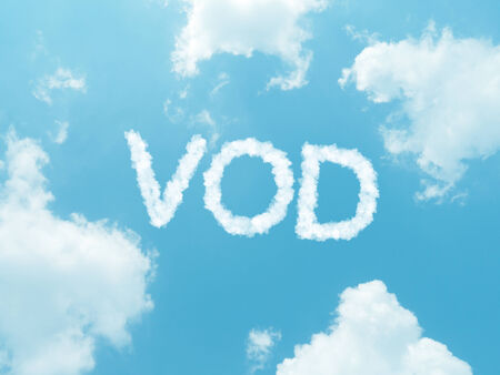 vod: cloud words with design on blue sky background