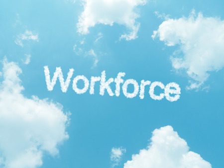 offshoring: cloud words with design on blue sky background