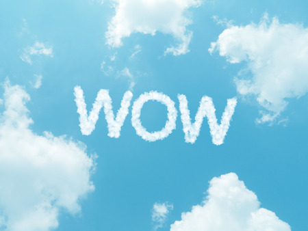wow: cloud words with design on blue sky background