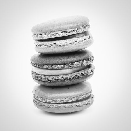 black and white Sweet french macarons