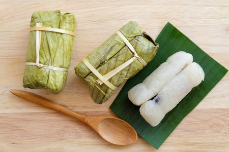 thai dessert: Thai Sweets  bunch of mush with banana filling