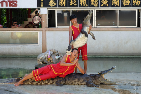 samutprakarn: SAMUTPRAKARN,THAILAND - April 18: crocodile show at crocodile farm on April 18, 2015 in Samutprakarn,Thaila nd. This exciting show is very famous among among tourist and Thai people Editorial