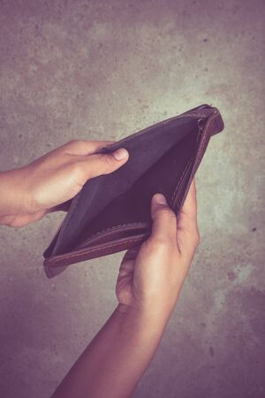empty wallet: An empty wallet with filter effect retro vintage style