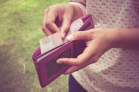 billfold: take money from the wallet with filter effect retro vintage style