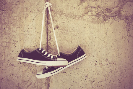 black sneakers with filter effect retro vintage style Stock Photo - 40641167