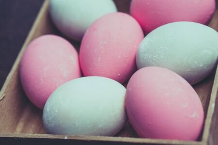 pastel colour: Colorful easter eggs with filter effect retro vintage style