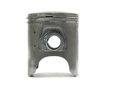 aluminum rod: Old engine piston isolated on white background