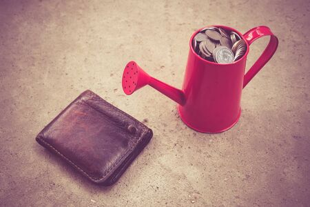 wateringcan: coin in red Watering-Can with filter effect retro vintage style