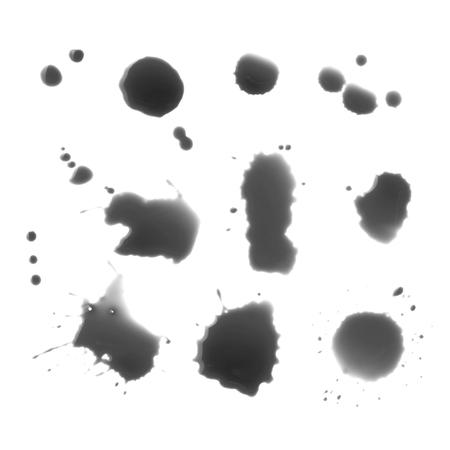 splutter: Drops of black ink on a white background