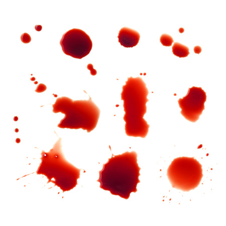 blood splatter: Blood stains set on a white background