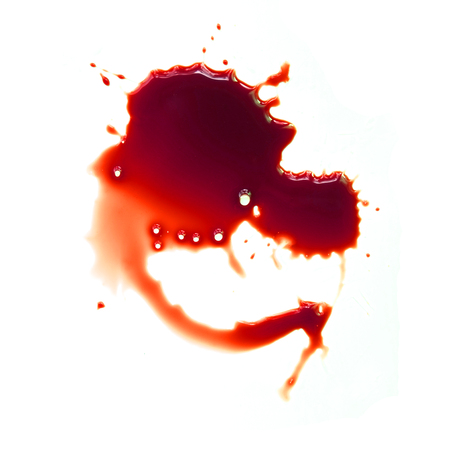 blood stain: Blood stains on a white background Stock Photo