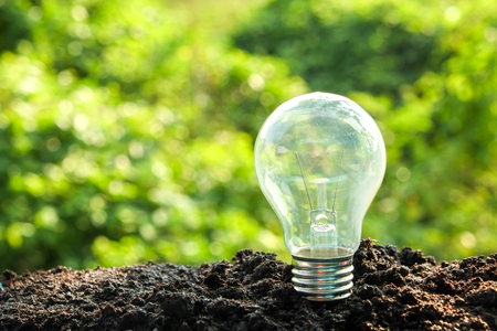 global innovation: idea and energy concept Light bulb in soil