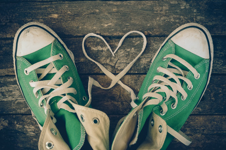 sneakers: sneakers with heart with filter effect retro vintage style