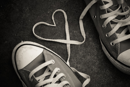 couple amoureux: sneakers with heart with filter effect retro vintage style