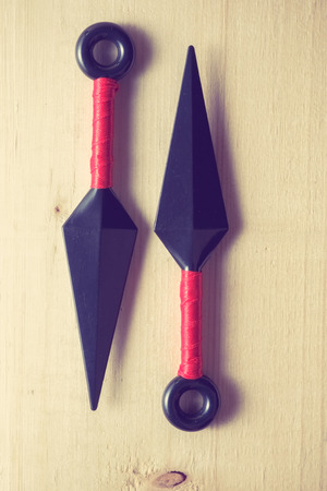 weapons: throw ninja weapons with filter effect retro vintage style