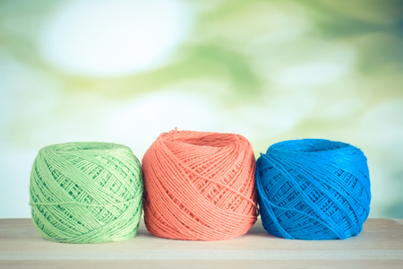 art and craft: colorful yarn with filter effect retro vintage style Stock Photo
