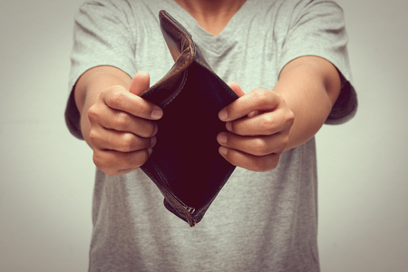 moneyless: An empty wallet with filter effect retro vintage style
