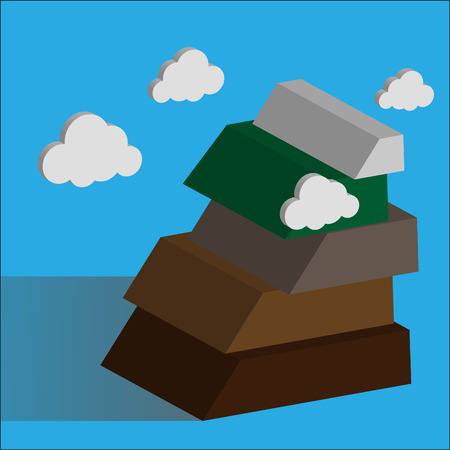 overcoming: mountain. Success concept illustration. Overcoming difficulties.