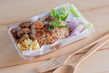 Thai food , Rice Mixed with Shrimp paste Stock Photo