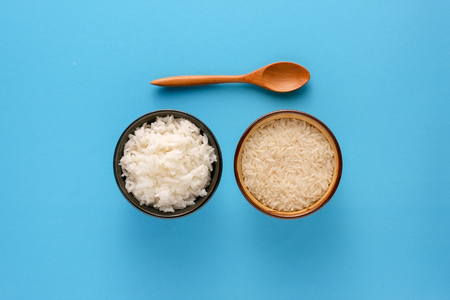 Grain white rice in a bowl Stock Photo