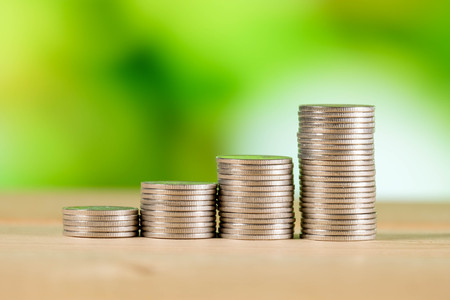 salarios: business finance. save money for investment concept coins