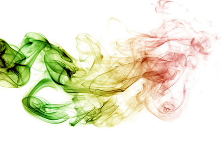 abstract background smoke curves and wave reggae colors green, yellow, red colored in flag of reggae music