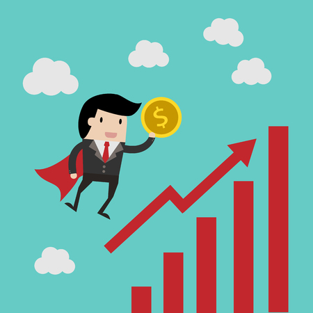 vector business finance. save money for investment concept,cartoon businessman with money in his hand to save. cartoon vector illustration for business design
